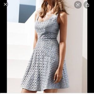 Ann Taylor LOFT blue eyelet fit flare 2 dress 66F
